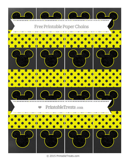 Free Yellow Polka Dot Chalk Style Mickey Mouse Paper Chains