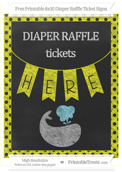 Free Yellow Polka Dot Chalk Style Whale 8x10 Diaper Raffle Ticket Sign