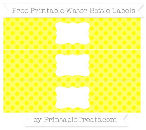 Free Yellow Polka Dot Water Bottle Labels