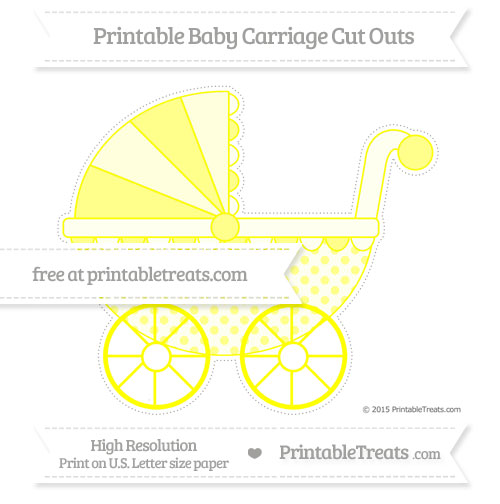Free Yellow Polka Dot Extra Large Baby Carriage Cut Outs