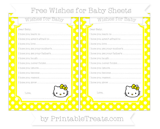 Free Yellow Polka Dot Hello Kitty Wishes for Baby Sheets