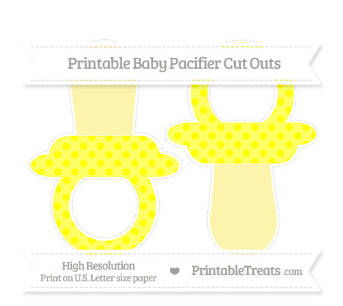 Free Yellow Polka Dot Large Baby Pacifier Cut Outs
