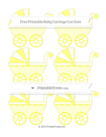 Free Yellow Polka Dot Small Baby Carriage Cut Outs