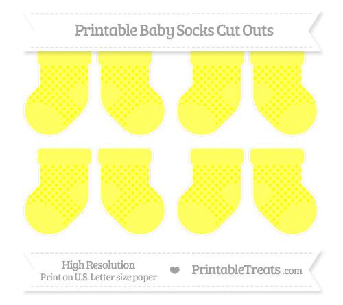 Free Yellow Polka Dot Small Baby Socks Cut Outs