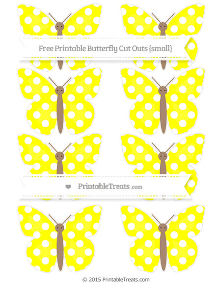 Free Yellow Polka Dot Small Butterfly Cut Outs