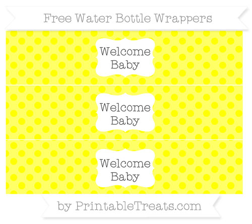 Free Yellow Polka Dot Welcome Baby Water Bottle Wrappers
