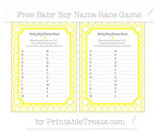 Free Yellow Quatrefoil Pattern Baby Boy Name Race Game