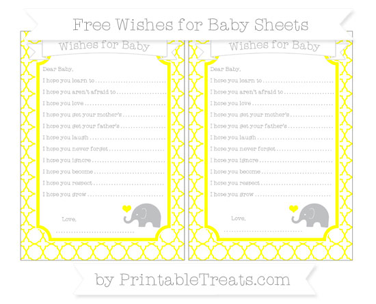 Free Yellow Quatrefoil Pattern Baby Elephant Wishes for Baby Sheets