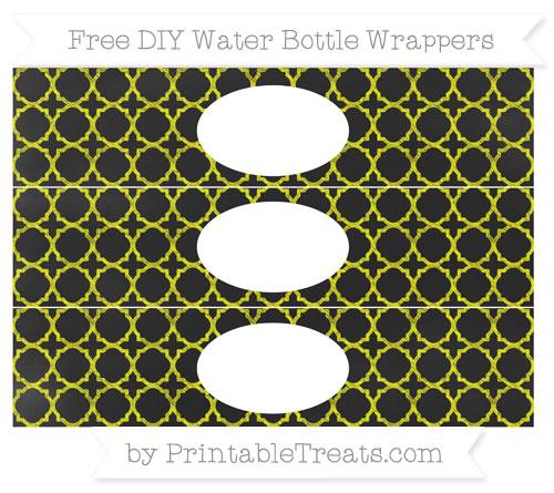 Free Yellow Quatrefoil Pattern Chalk Style DIY Water Bottle Wrappers