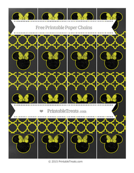 Free Yellow Quatrefoil Pattern Chalk Style Minnie Mouse Paper Chains