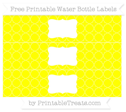 Free Yellow Quatrefoil Pattern Water Bottle Labels