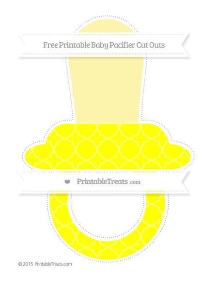 Free Yellow Quatrefoil Pattern Extra Large Baby Pacifier Cut Outs
