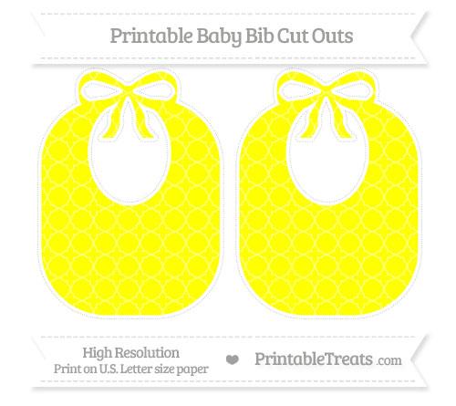 Free Yellow Quatrefoil Pattern Large Baby Bib Cut Outs