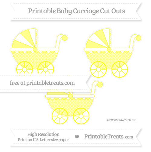 Free Yellow Quatrefoil Pattern Medium Baby Carriage Cut Outs