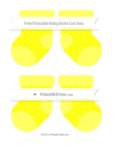 Free Yellow Quatrefoil Pattern Medium Baby Socks Cut Outs