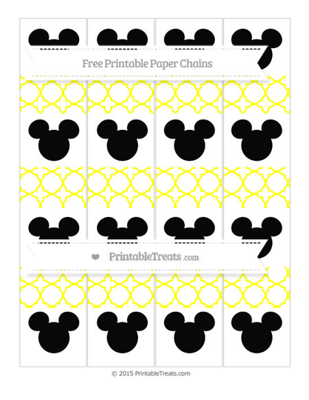Free Yellow Quatrefoil Pattern Mickey Mouse Paper Chains