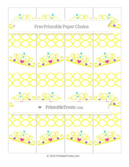 Free Yellow Quatrefoil Pattern Princess Tiara Paper Chains