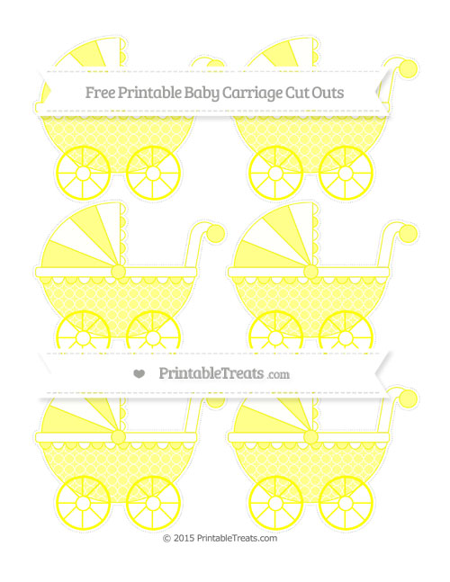 Free Yellow Quatrefoil Pattern Small Baby Carriage Cut Outs