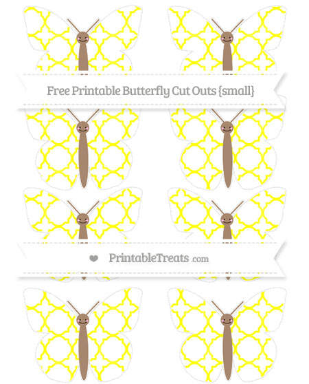 Free Yellow Quatrefoil Pattern Small Smiley Butterfly Cut Outs