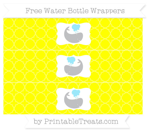 Free Yellow Quatrefoil Pattern Whale Water Bottle Wrappers