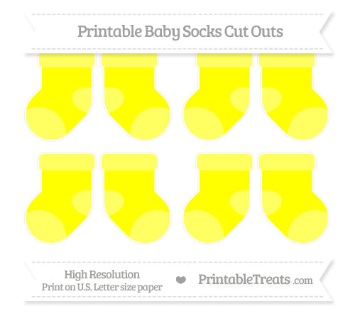Free Yellow Small Baby Socks Cut Outs