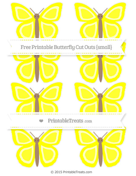 Free Yellow Small Butterfly Cut Outs