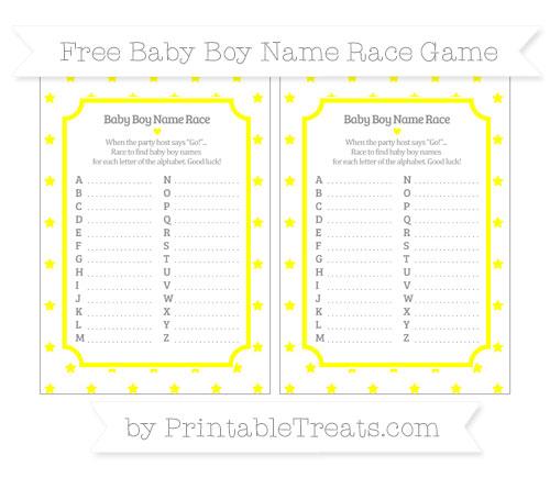 Free Yellow Star Pattern Baby Boy Name Race Game