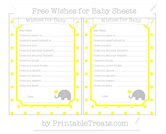 Free Yellow Star Pattern Baby Elephant Wishes for Baby Sheets