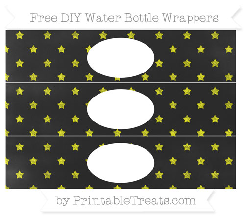 Free Yellow Star Pattern Chalk Style DIY Water Bottle Wrappers