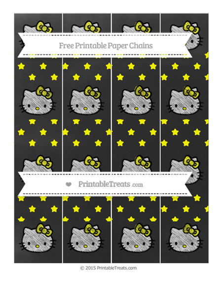 Free Yellow Star Pattern Chalk Style Hello Kitty Paper Chains