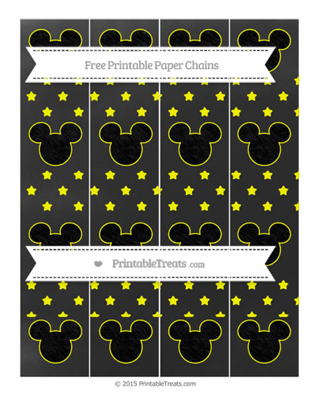 Free Yellow Star Pattern Chalk Style Mickey Mouse Paper Chains