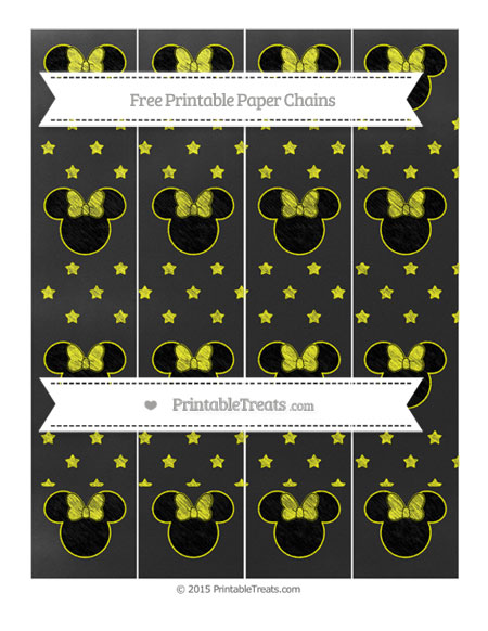 Free Yellow Star Pattern Chalk Style Minnie Mouse Paper Chains