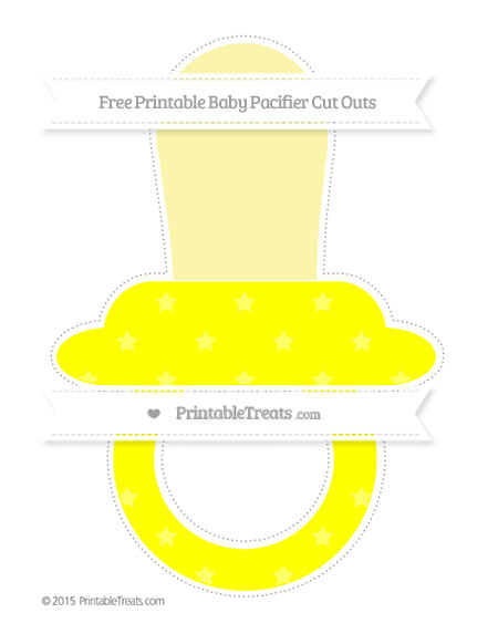 Free Yellow Star Pattern Extra Large Baby Pacifier Cut Outs