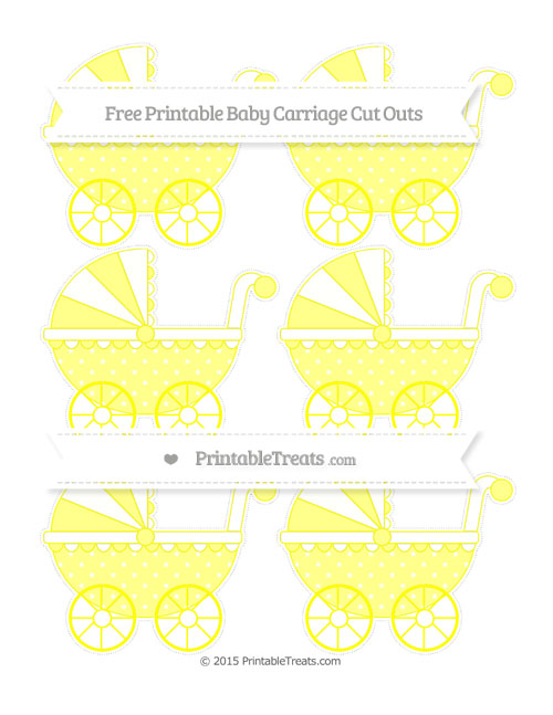 Free Yellow Star Pattern Small Baby Carriage Cut Outs