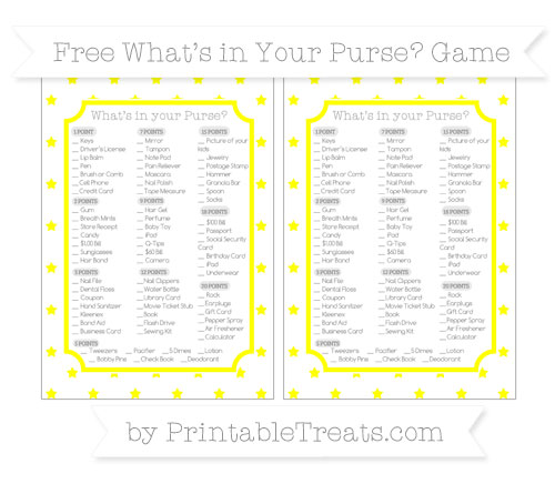Free Yellow Star Pattern What's in Your Purse Baby Shower Game