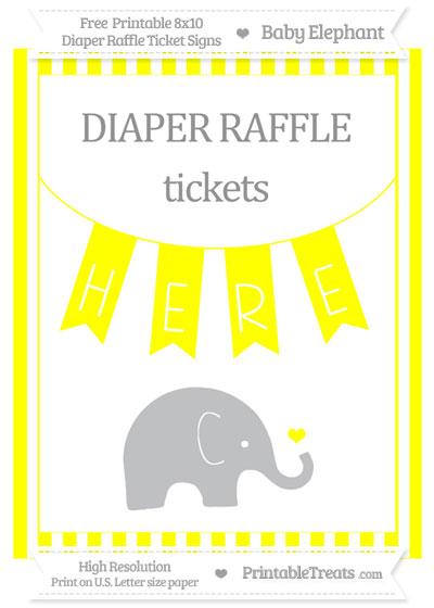 Free Yellow Striped Baby Elephant 8x10 Diaper Raffle Ticket Sign