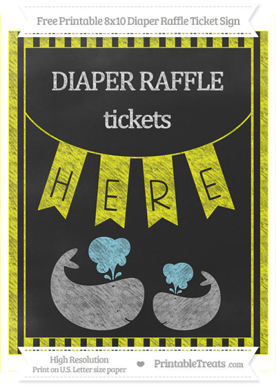 Free Yellow Striped Chalk Style Baby Whale 8x10 Diaper Raffle Ticket Sign