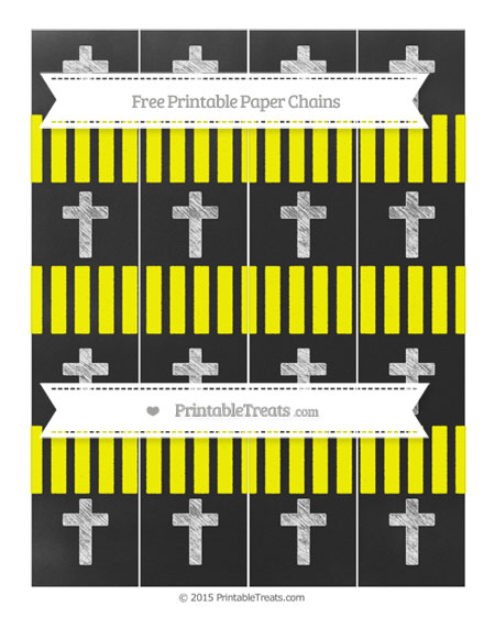 Free Yellow Striped Chalk Style Cross Paper Chains