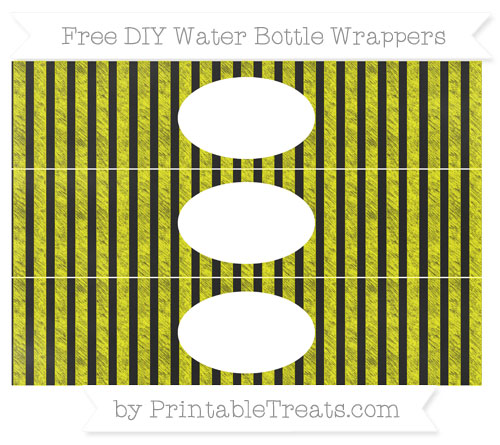 Free Yellow Striped Chalk Style DIY Water Bottle Wrappers