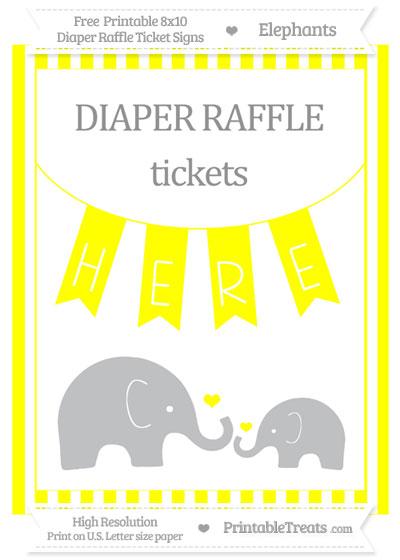 Free Yellow Striped Elephant 8x10 Diaper Raffle Ticket Sign