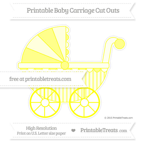Free Yellow Striped Extra Large Baby Carriage Cut Outs