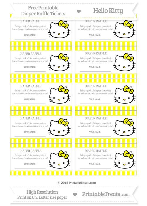 Free Yellow Striped Hello Kitty Diaper Raffle Tickets