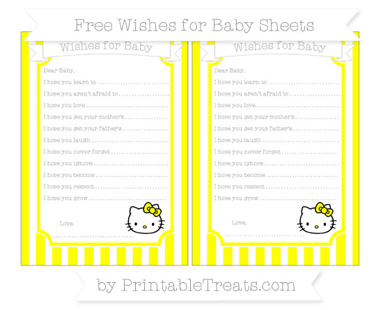 Free Yellow Striped Hello Kitty Wishes for Baby Sheets