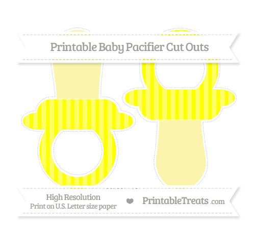 Free Yellow Striped Large Baby Pacifier Cut Outs