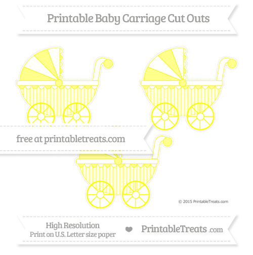 Free Yellow Striped Medium Baby Carriage Cut Outs