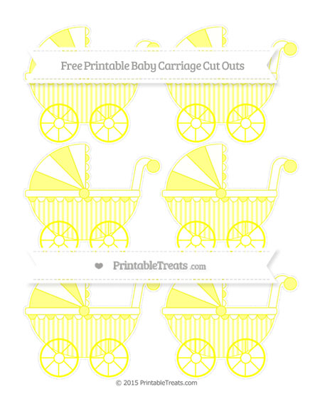 Free Yellow Striped Small Baby Carriage Cut Outs