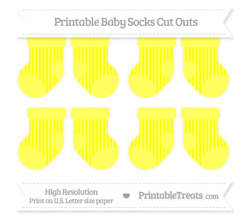 Free Yellow Striped Small Baby Socks Cut Outs