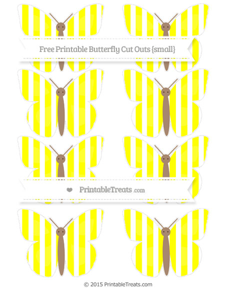 Free Yellow Striped Small Butterfly Cut Outs