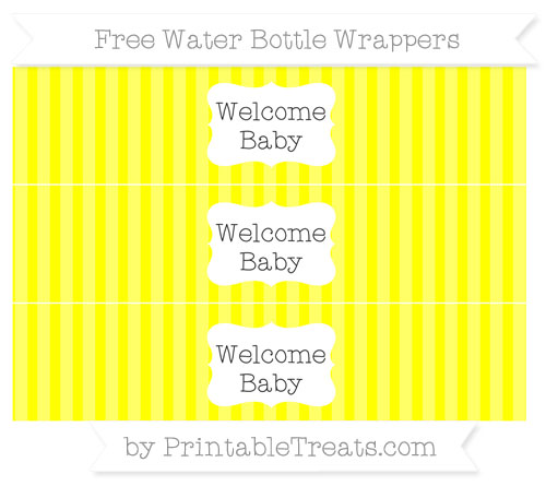 Free Yellow Striped Welcome Baby Water Bottle Wrappers