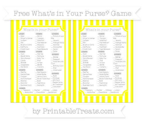 Free Yellow Striped What's in Your Purse Baby Shower Game